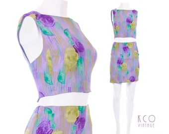 b36e01dede03 Vintage Versace Silk Crop Top and Mini Skirt Set 2 Piece Outfit Gianni  Versace Couture Made in Italy Women s Clothing Size XS-Small 26