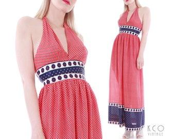 a7e6c1e326f 70s Red Polka Dot Halter Maxi Dress