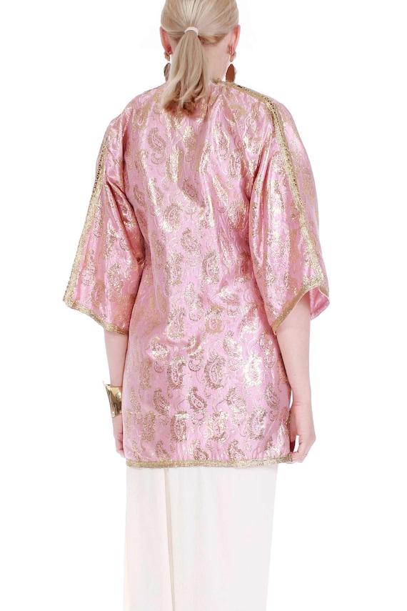 70s Vintage Gold Lame Pink Metallic Brocade Tunic - image 4