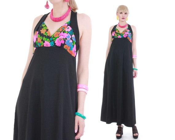 60s Vintage Neon Floral Bustier Halter Maxi Dress