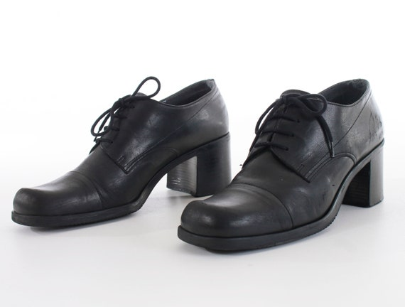 US10 Apostrohpe Black Block Block Oxfords Heel 10 Shoes 90's Leather Women's 5