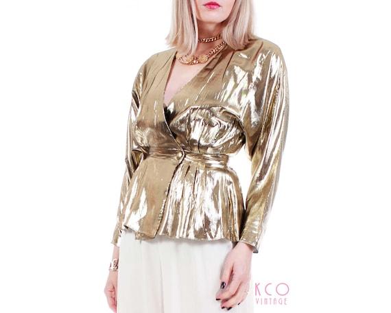 80s Shiny Gold Metallic Batwing Wrap Plunge Blouse