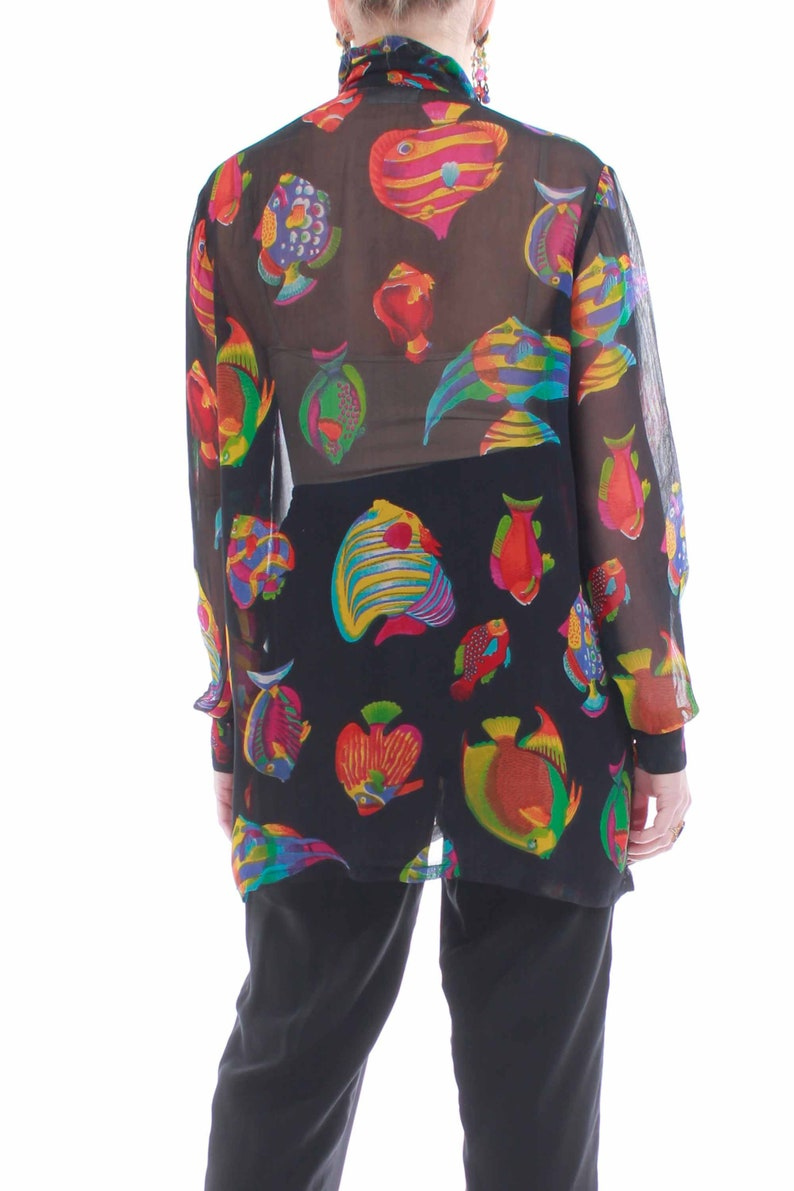 80/'s Sheer Fish Print Oversized Blouse Women/'s Size Large-XL 44 Bust