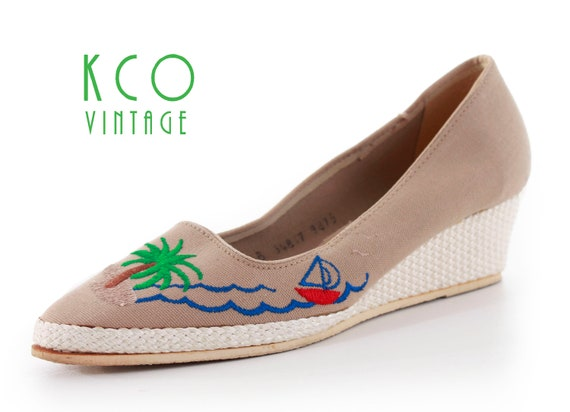 Sailboat Wedge Platform Shoes Women's Size 8