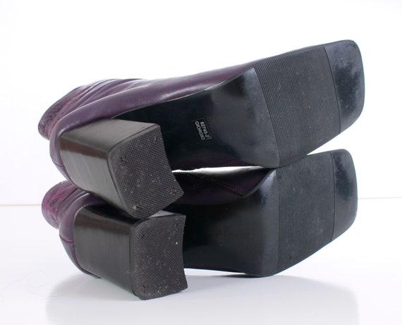 Chaussures 8 taille haut talon bloc EUR US serpent Vintage 39 Chunky 6 femmes cuir 90 peau 5 en Vintage Purple 5 bottes de cheville UK Uw6WXdq