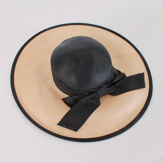Vintage Wide Brim Straw Hat with Bow - image 4