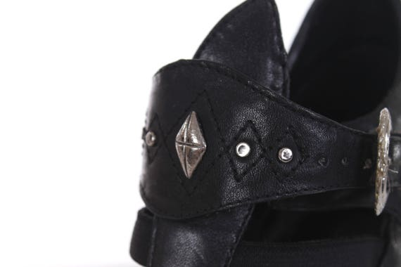 UK High Booties 2 5 35 Studded 4 Pointed Leather Women's Size Boots US4 Caged Vintage Toe Studded Rocker 5 EUR Goth Buckled 5 80s Heel rcBR81xqwr