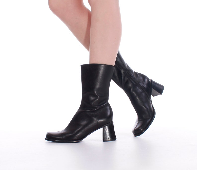 fefebb25bb8 Steve Madden Black Leather Block Heel Boots Size US 8