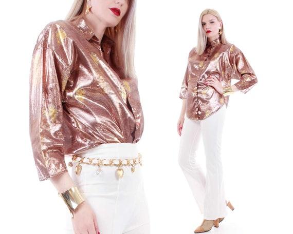 80s Vintage Shiny Rose Gold Metallic Batwing Boxy