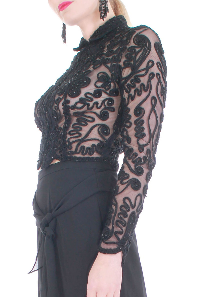 Sheer Black Beaded and Embroidered Long Sleeve Crop Top