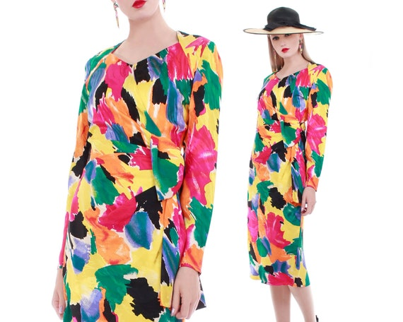 80s Colorful SILK Long Sleeve Midi Wrap Dress with