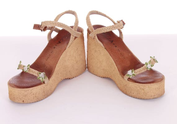 Sandals 38 Boho Wedges USA Eur Sandals Vintage 1990's 8 Retro Cork Summer 90s with Chunky 6 Flowers Sbicca UK 8 Platform Shoes Women's BPZgq