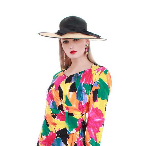 Vintage Wide Brim Straw Hat with Bow - image 1
