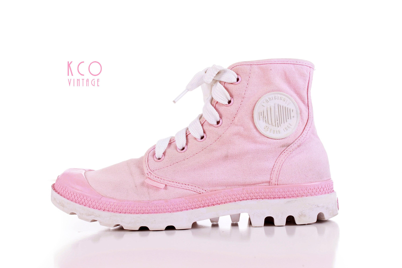 eef7ce251bf0 Vintage Palladium Sneakers Pastel Pink White High Top Platform