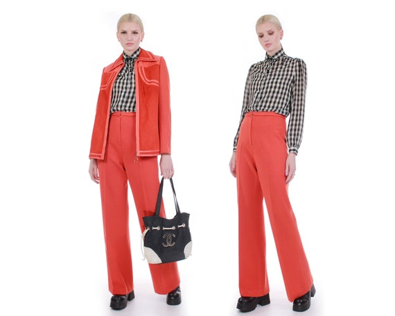 70s Orange Leather and Wool Knit Pantsuit High Wai