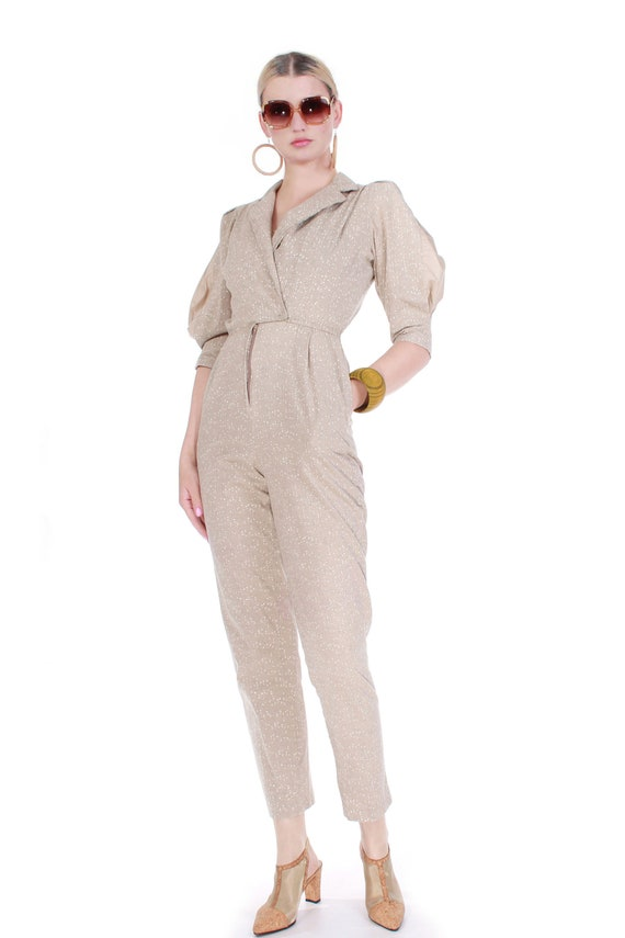 80s Vintage Cotton Puff Sleeve Jumpsuit in Speckle