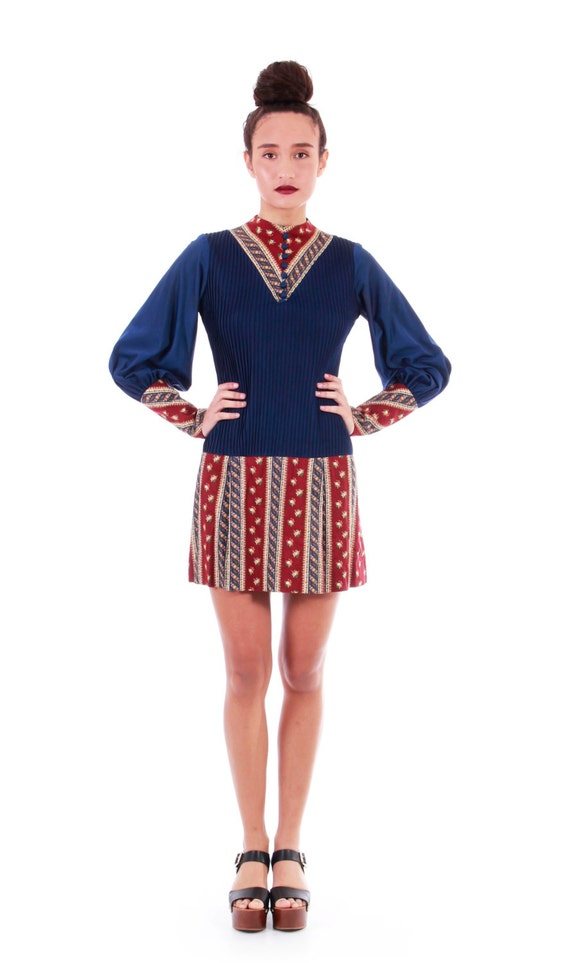 70s Vintage Clothing Size Dress Hippie Pleated Mini Boho Sleeve SMALL Dress Dress Dress Women's MR Dress Mini Mod Long 60s BOOTS Dress awqFZT4R