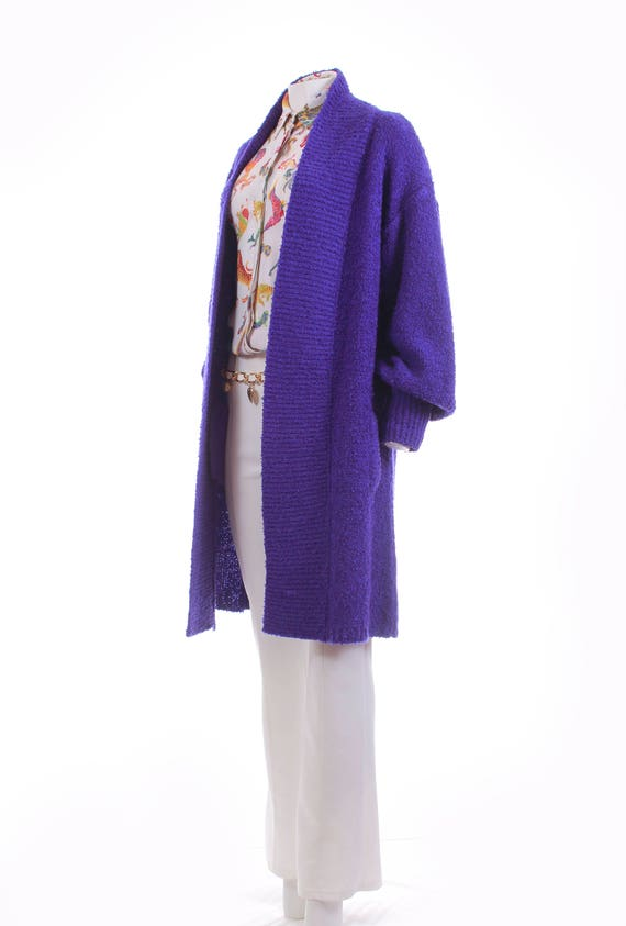 XL Women's Vintage Boucle Sweater Size Cardigan Long 80s Sweater Chunky Cardigan Duster Purple Oversized Clothing Clothing Sweater 76qSwa0xn4