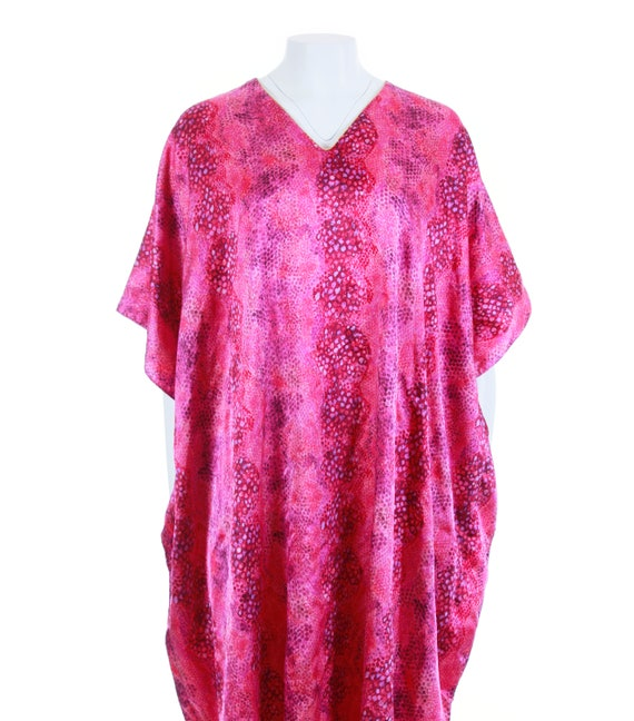 Shiny Plus Wear Shiny Retro Women's 80's Caftan Pink Cover Snakeskin Up Resort OSFA Dress Size Kaftan 1980s Lounge MuuMuu Vintage Clothing qxFwBS