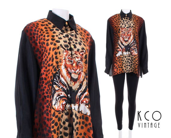 Leopard Hop Shirt Clothing Hip Women's 90s Silk Print Animal Blouse XL Vintage Size Clothing Shirt Oversized Silk 90s 80s Clothing L 5Ea1qOn