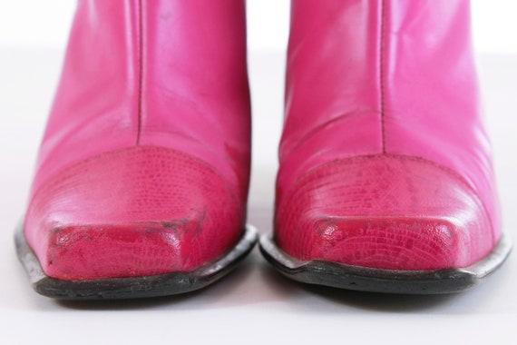 chaussure en 7 haut chaud EUR taille bottes 38 relief en 5 ' rose cuir talon 5 Retro s Vintage 5 80 cheville femme US UK Rocker CwaPqHH