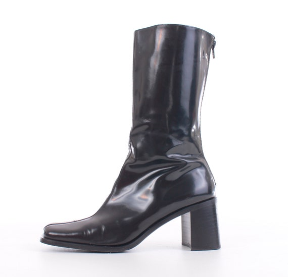 3475fdadd83e4 Vintage Coach Patent Leather Block Heel Boots Made in Italy Women's Size 8.5