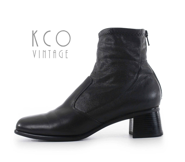 les bottines noires portion cuir ; s vintage s made in usa chaussures ; s vintage minimaliste talon munro femmes et bloc ; s taille , - royaume - uni - , - 5fb28e