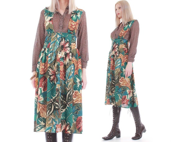80s Tropical Print Jumper Dress