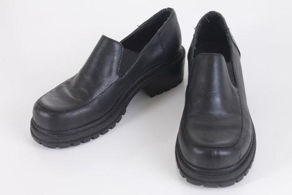 37 Chunky Esprit femmes Chaussures Vintage cuir bloc noir US6 en Taille UK4 talon plateforme 90 mocassins EUR36 wx7tZ4Fq