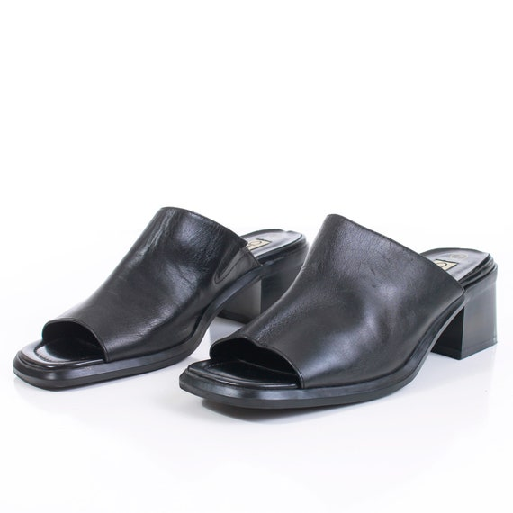 90s Block Heel Black Leather Mules Women's Size U… - image 4