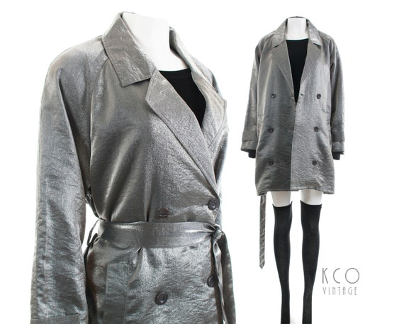 "Silver Metallic Short Trench Coat Iridescent Jacket 1990's Vintage Clothing Women's Size L Xl 46""Bust by Etsy"