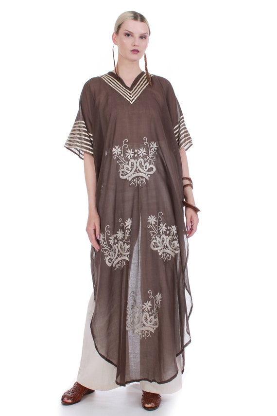70s Vintage Embroidered Brown Cotton Caftan Maxi D