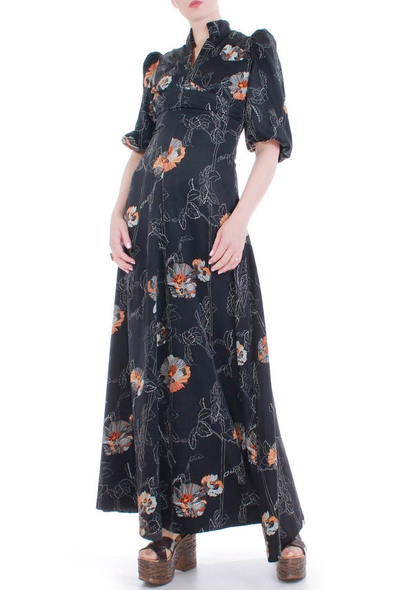70s Vintage Black Floral Puff Sleeve Empire Maxi D