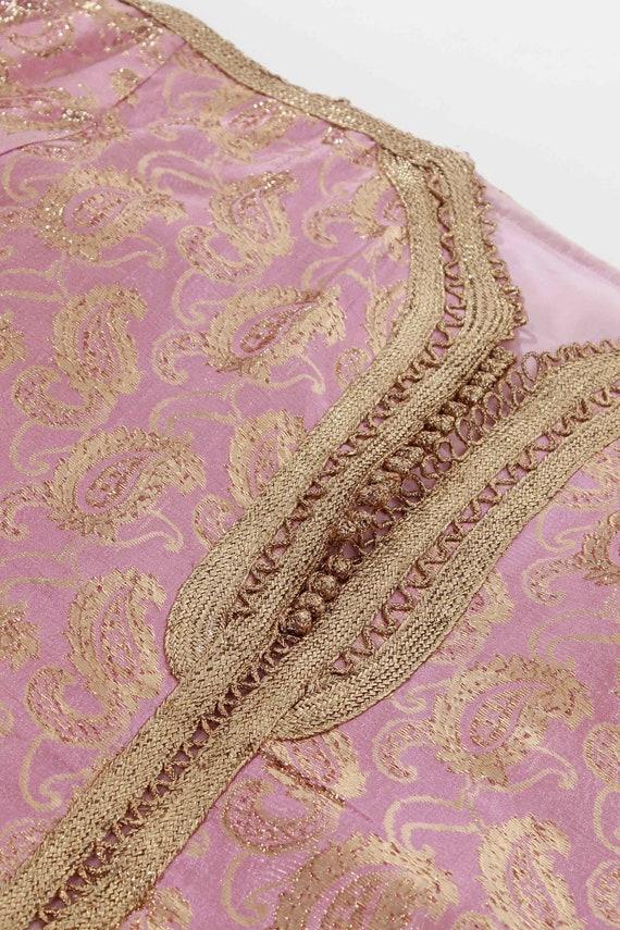 70s Vintage Gold Lame Pink Metallic Brocade Tunic - image 7