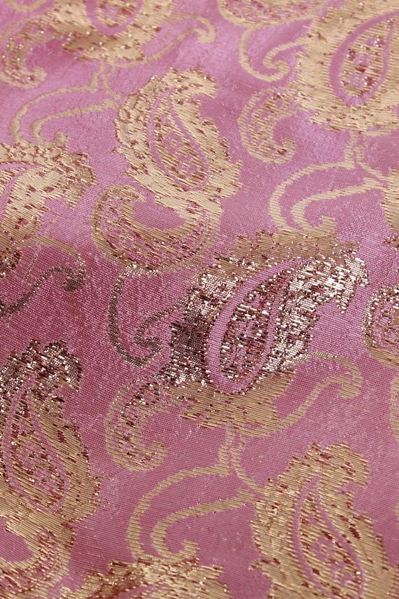 70s Vintage Gold Lame Pink Metallic Brocade Tunic - image 5
