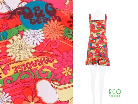 7ed673b3555bc4 D G Beachwear Dress 90 s Vintage Dolce Gabbana Psychedelic