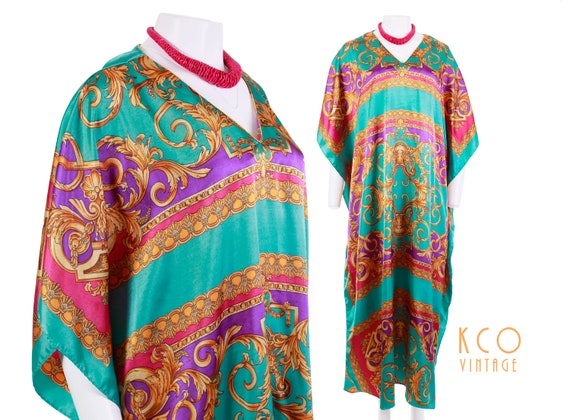 Size Dress Shiny Beach Size Muumuu Women's Up Caftan 1980's Vintage Style Free OSFA Clothing Silky Summer Plus Cover Versace Baroque Print Yq5ZzwP