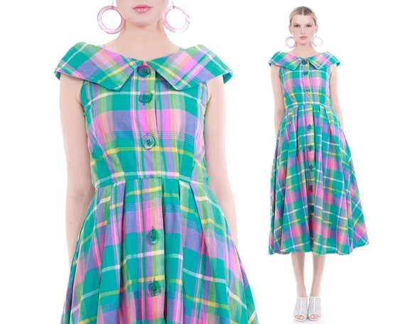 Vintage Pastel Pink Green Plaid Cotton Fit and Fla