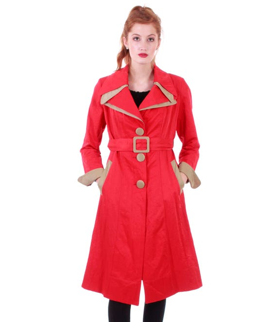 Mod Trench Vintage Raincoat Coat S Women's Nylon Clothing M Red Clothing Flare Belted 70s Retro Retro Fit Coat Raincoat 70s Coat Size and PTndqxwA