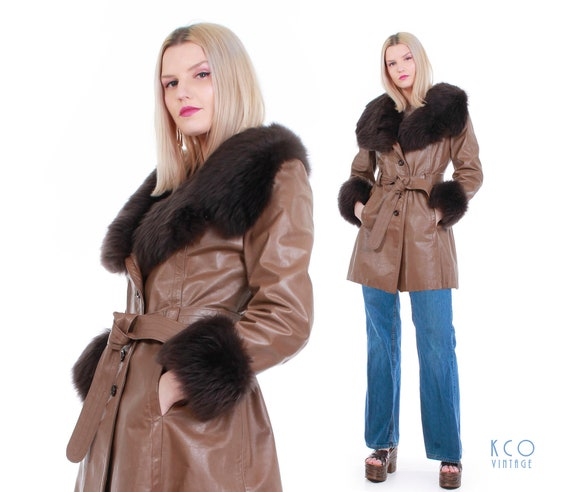 70's Vintage Leather and Shearling Fur Belted Coat