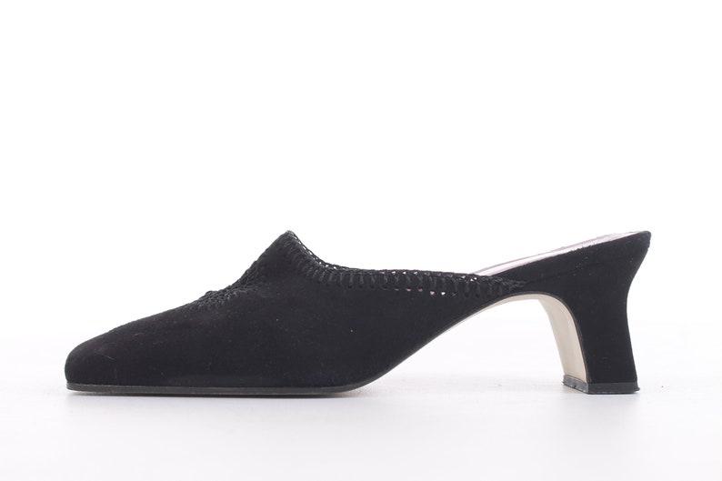 70440a236cc5e Black Suede Mules A. Marinelli Spain 90's Vintage Size 7.5