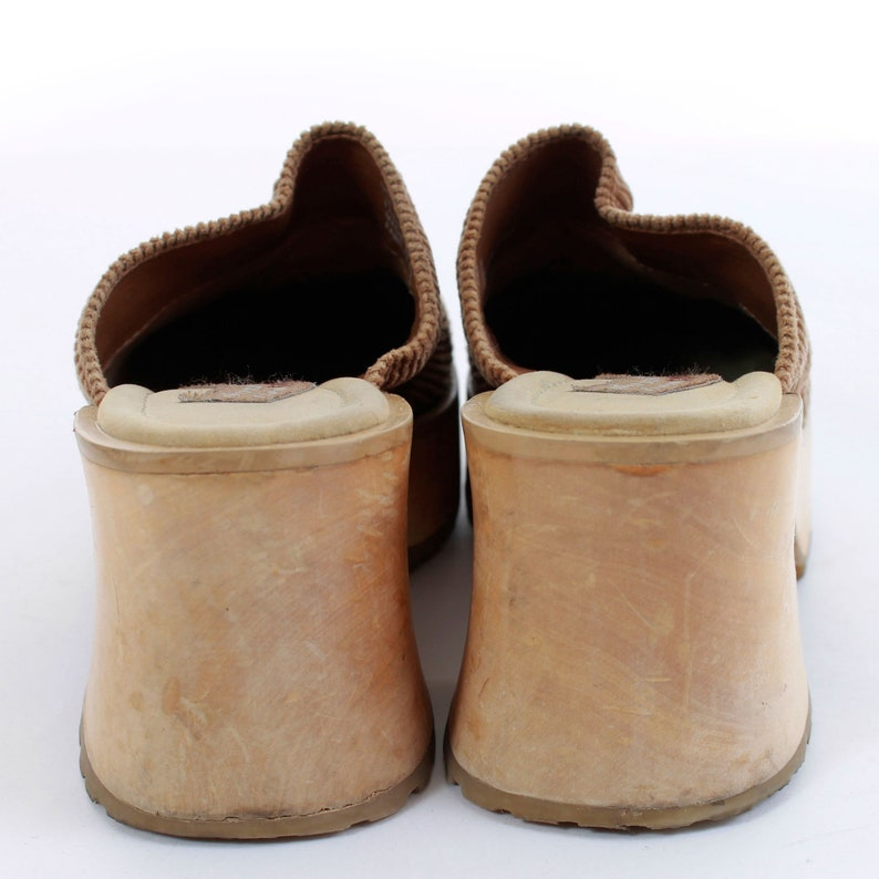 51c8f1f640c85 90s Wood Platform Skechers Tan Corduroy Mule Clog Size 7