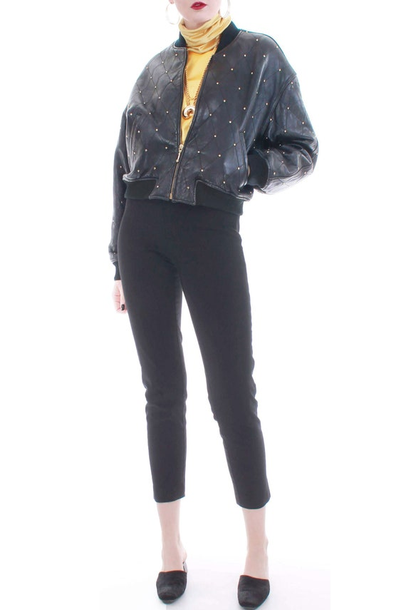 80s Quilted Studded Leather Bomber Jacket