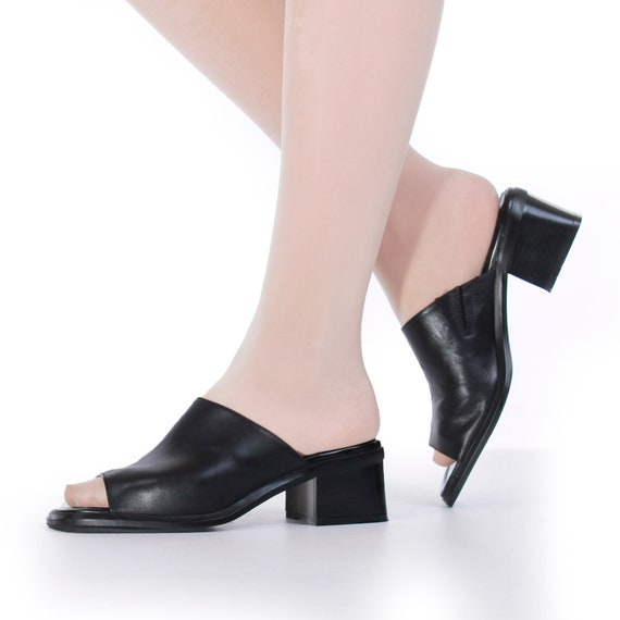 90s Block Heel Black Leather Mules Women's Size U… - image 1