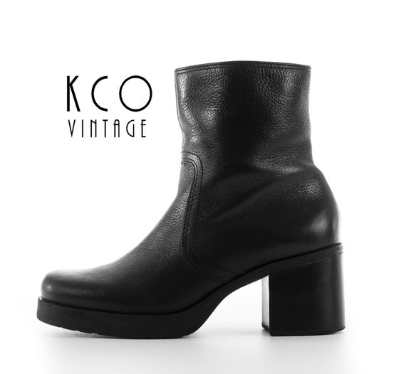 5 7 Shoes Chelsea Heel Leather Block Grunge 4 Black Minimalist Vintage 1990's 5 Ankle 6 5 90's High Shoes US UK Boots Chunky Goth Heel 7 OTEESw