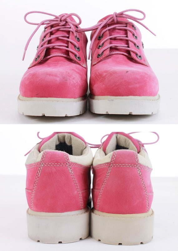 90's Boots White US Pink Size Sole Lug Women's Platforms Hiking Vintage 7 Lugz Ankle 5 90's qwt0E0