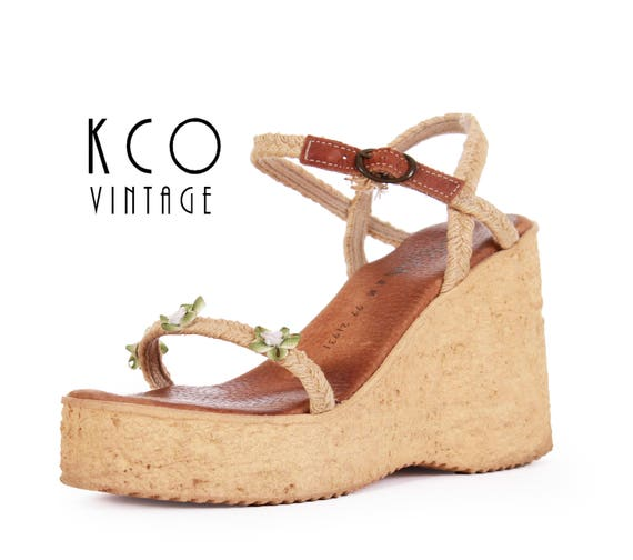 Women's Sandals Sbicca Shoes Cork 6 Boho Eur Retro 90s Vintage 38 USA Flowers with 8 Platform Summer UK Chunky Sandals Wedges 8 1990's vwYdSqIS