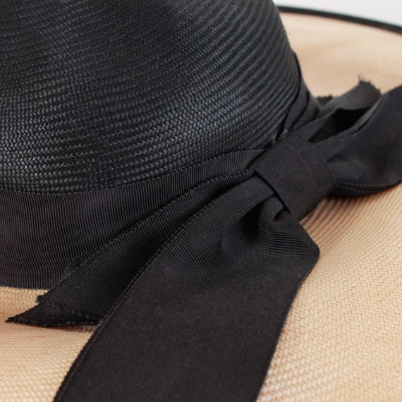 Vintage Wide Brim Straw Hat with Bow - image 3
