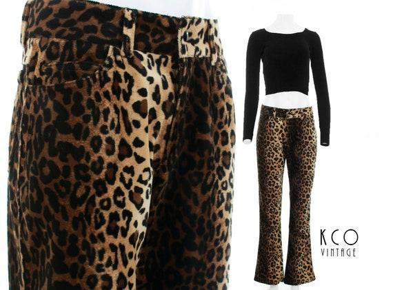"Vintage Lip Service Faux Fur Pants 1990's Clothing Women's Size Medium 31"" Waist / Leopard Print 1990's Grunge Low Rise Wide Flare 34""Inseam"