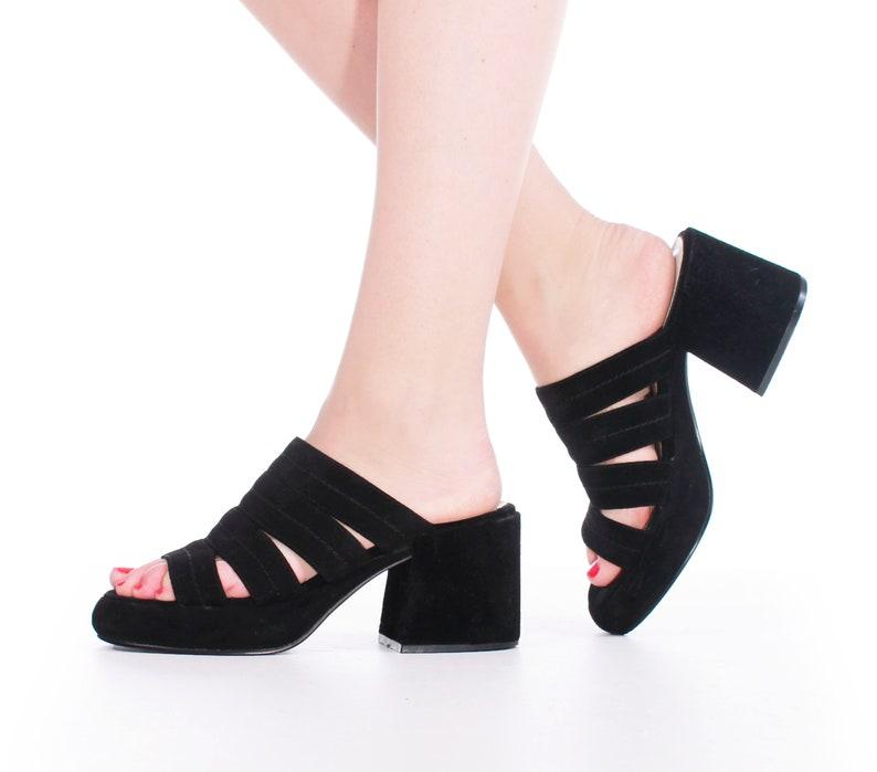 afa7c48af6 Black Velvet Strappy Platform Sandals Women's Size 7.5 | Etsy